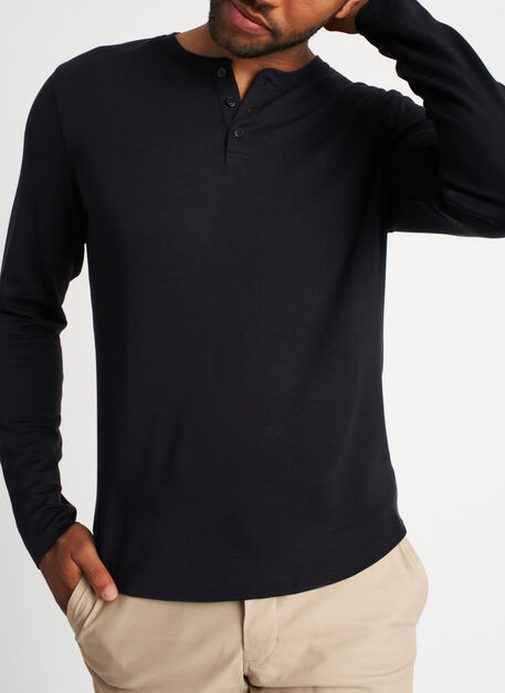 The B.F.T. Long Sleeve Henley Tee, Black | Kit and Ace