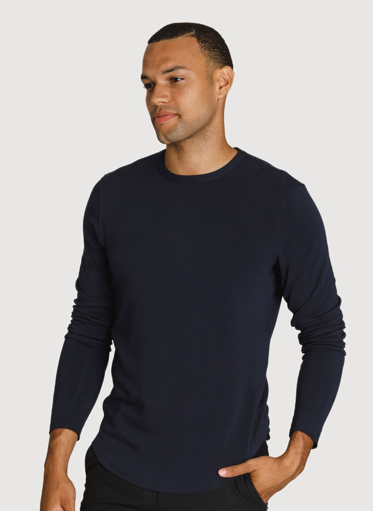 Raw Brushed Long Sleeve Crew Neck, DK Navy | Kit and Ace