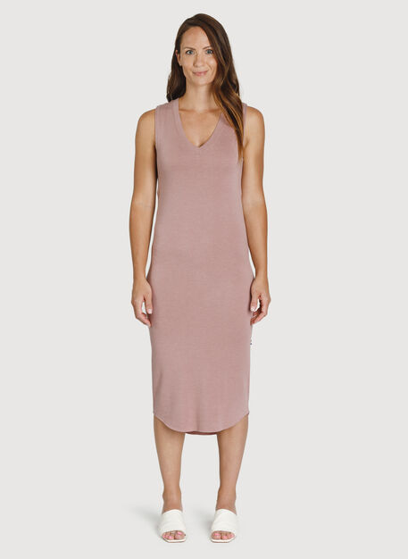 Good Feels Sleeveless Dress, HTHR Fawn | Kit and Ace