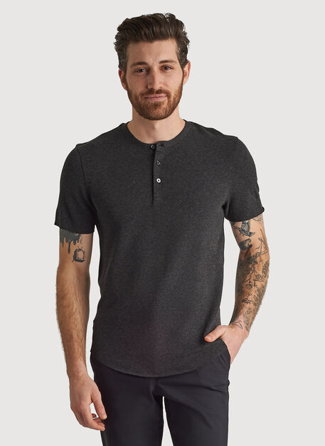 Henley Brushed Crew, HTHR Charcoal | Kit and Ace