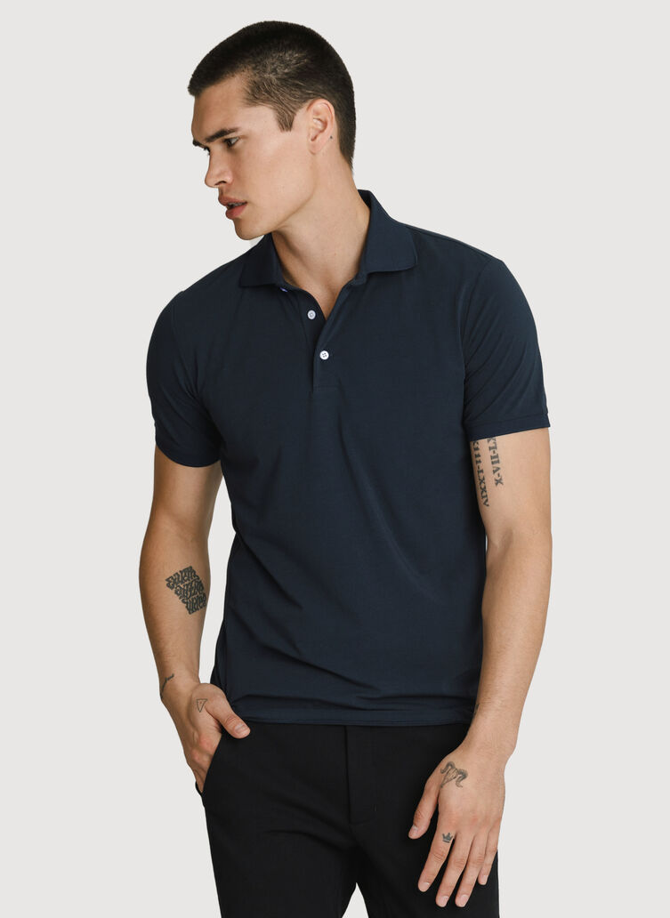 Stretch Pima Polo, DK Navy | Kit and Ace