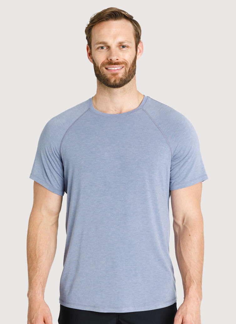 Ace Tech Jersey Crew Tee Relaxed Fit, Heather Stormy Sky | Kit and Ace