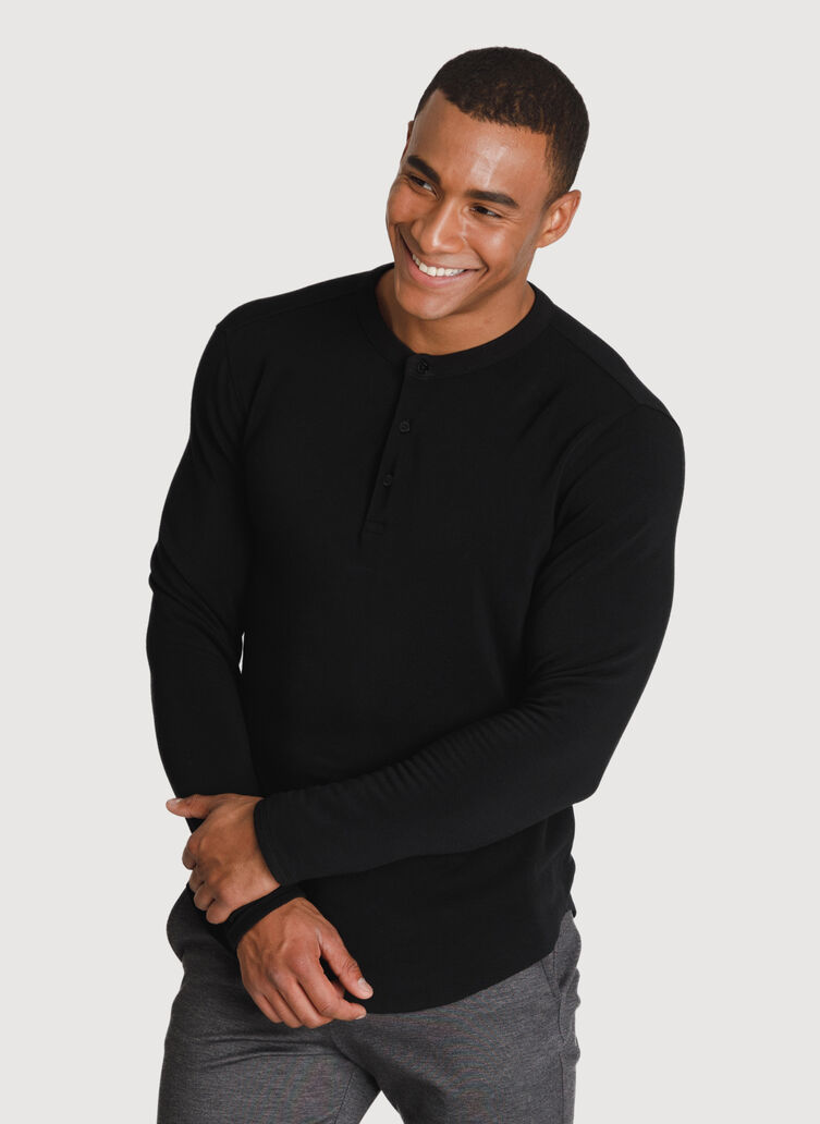 Brushed Henley Long Sleeve, BLACK | Kit and Ace