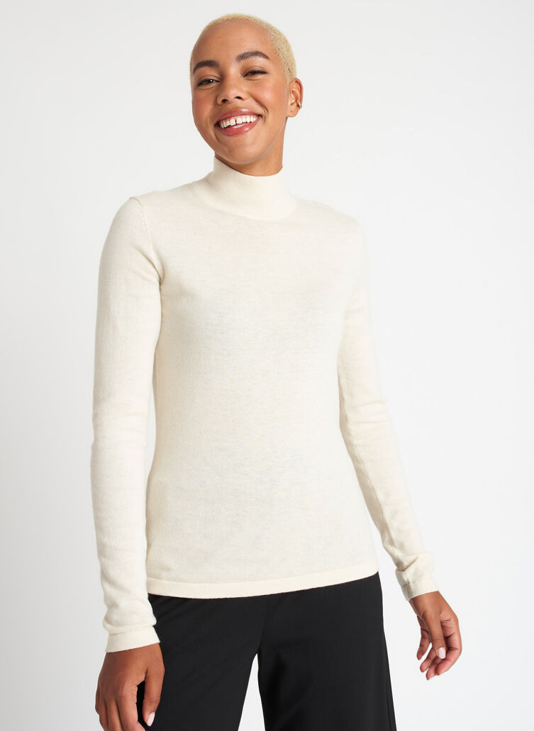 Fitted Merino Turtleneck Sweater, Beige | Kit and Ace