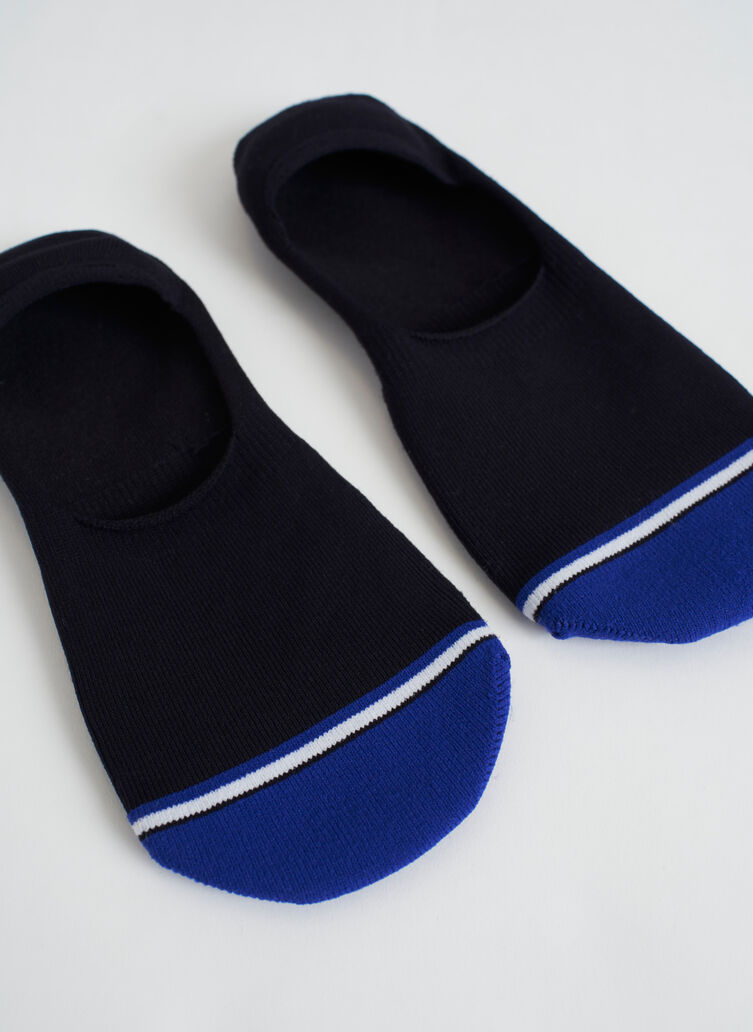 Motion No-Show Socks, BLACK/KITS BLUE | Kit and Ace
