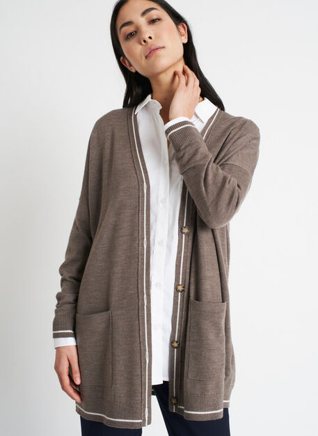 Travel On Merino Cardigan, Heather Taupe/Ivory | Kit and Ace