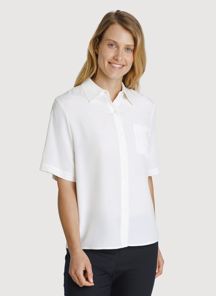 Bike to Office Silk Blouse, Bone   Kit and Ace
