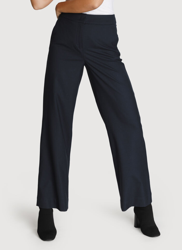Wide Leg Stretch Trousers, Dark Navy | Kit and Ace