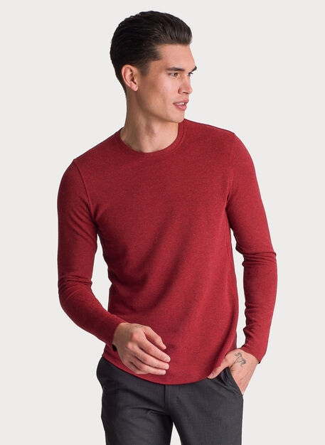 Brushed Long Sleeve Crew, HTHR NUTMEG | Kit and Ace