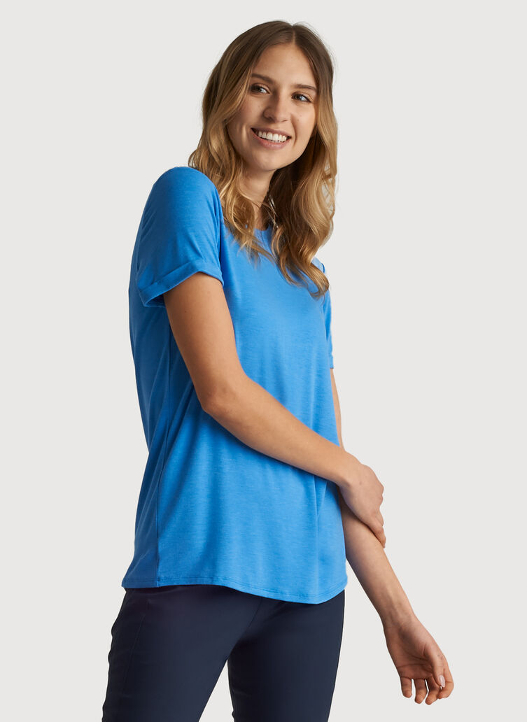 Kit Tech Jersey Crew Tee Relaxed Fit, Heather Sail Blue | Kit and Ace