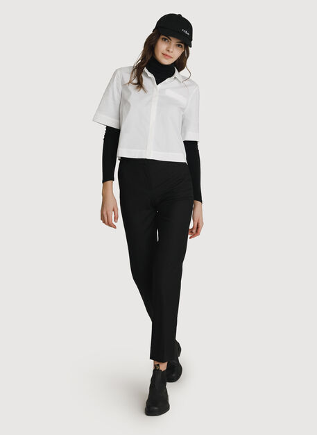 Stretch Cropped Blouse, Bright White | Kit and Ace