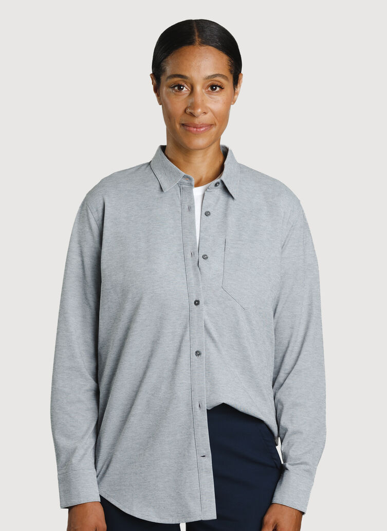 O.T.M. Boyfriend Button Up, Grey Chambray | Kit and Ace