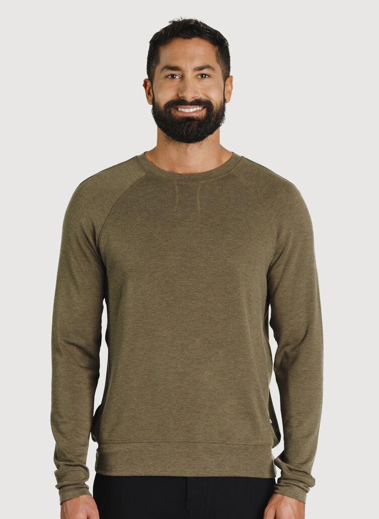Chillin Brushed Pullover, Heather Moss | Kit and Ace