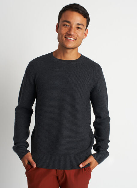 Cozy Merino Crewneck Sweater, Heather Charcoal | Kit and Ace