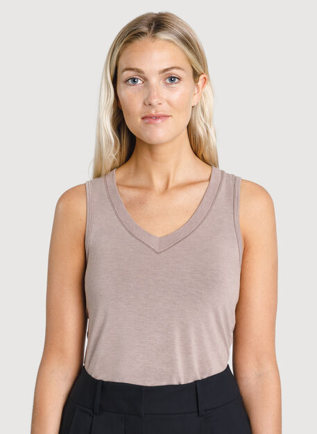 Kit Tech Jersey Scoop Neck Tank, HTHR Dark Oat | Kit and Ace