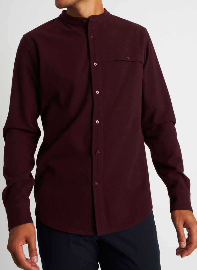 Urban Adventure Collarless Flannel Shirt, Heather Plum | Kit and Ace