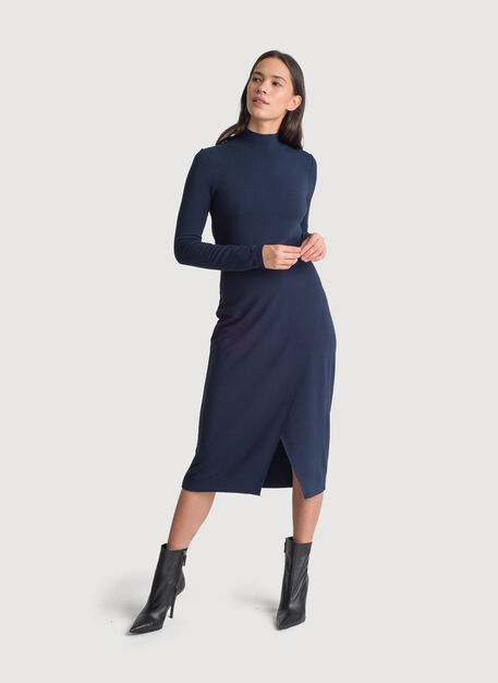 Brushed Mock Neck Long Sleeve Dress, DK Navy | Kit and Ace