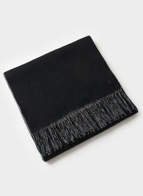 Reversible Lambs wool Scarf, BLACK/HTHR GREY | Kit and Ace