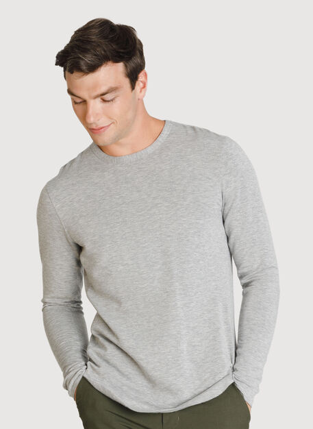 Raw Brushed Long Sleeve Crew Neck, HTHR Charcoal Grey | Kit and Ace