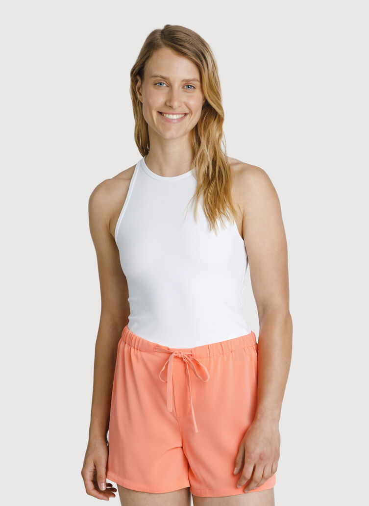 The Base High Neck Tank, Bright White | Kit and Ace