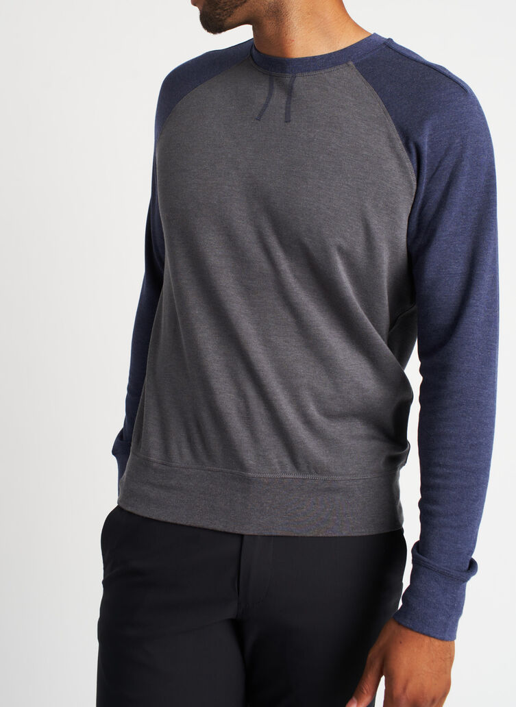 Chillin Pullover, Heather Charcoal/Heather Dark Navy | Kit and Ace