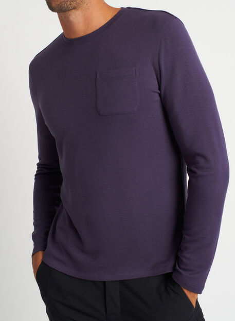 First Class Pocket Crewneck Tee, Aubergine   Kit and Ace