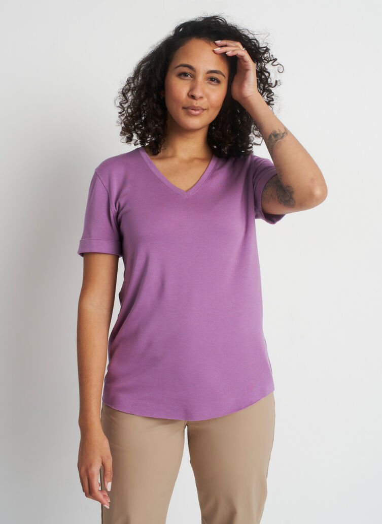 Good Feels Brushed V-Neck Tee, Grape | Kit and Ace