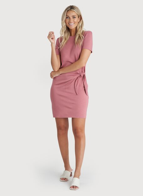 Brushed Tie Dress, Heather Dusty Rose | Kit and Ace