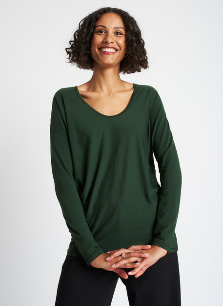 Merino Wave Long Sleeve Tee, Forest | Kit and Ace