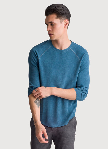 Brushed 3/4 Sleeve Crew, HTHR Legion Blue | Kit and Ace