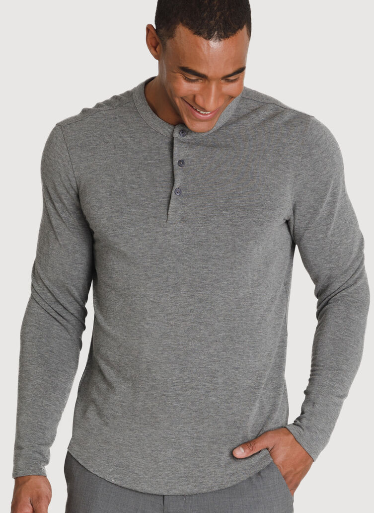 Brushed Henley Long Sleeve, HTHR GREY | Kit and Ace