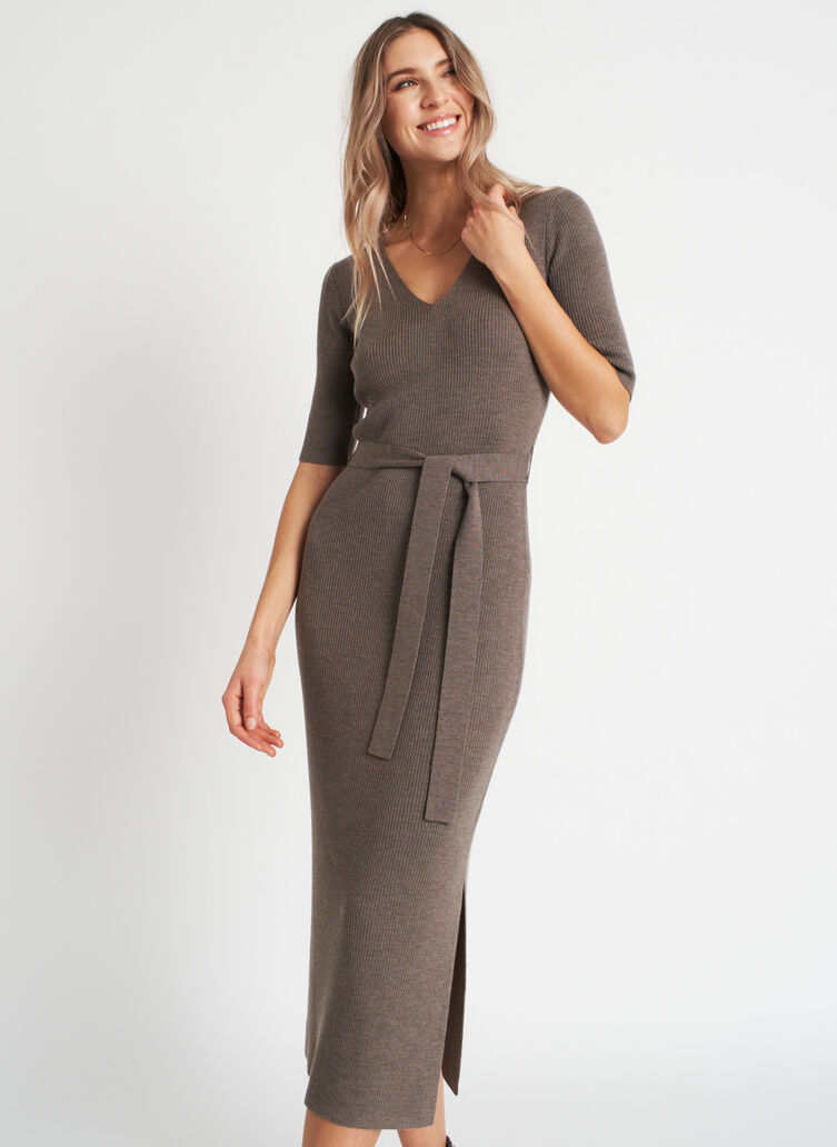 Dreamy Merino Dress, Heather Taupe | Kit and Ace