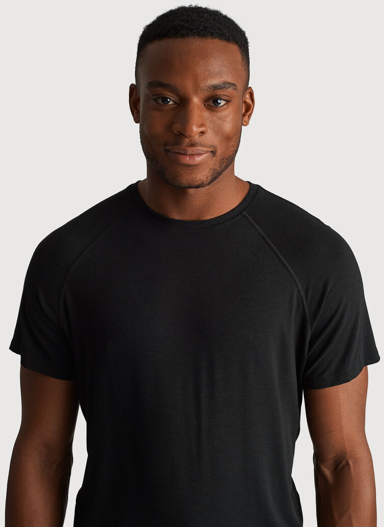 Ace Tech Jersey Crew Tee Relaxed Fit, Heather Black | Kit and Ace