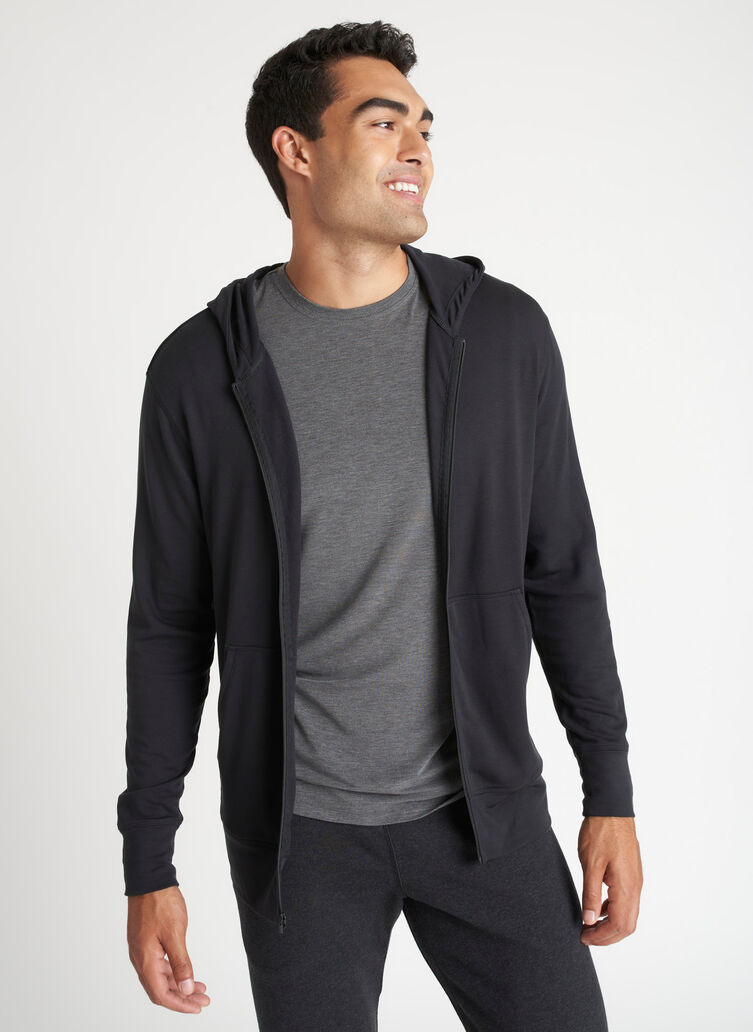Brushed Zip Up Hoodie, Black | Kit and Ace