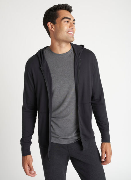 Brushed Zip Up Hoodie, Black   Kit and Ace