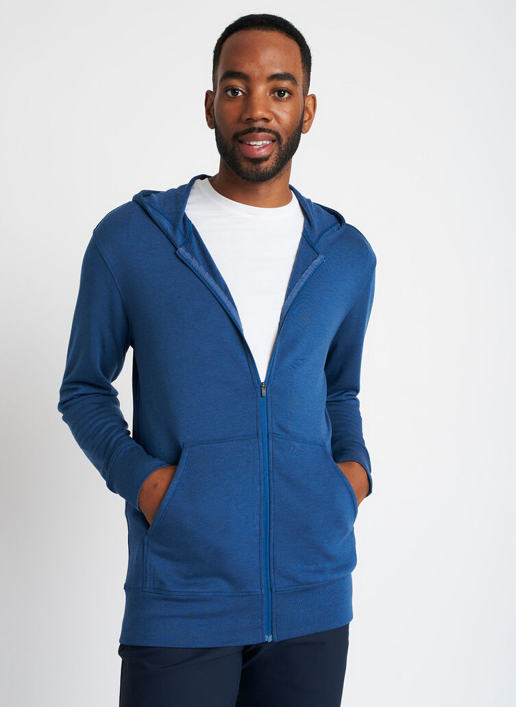 Brushed Zip Up Hoodie, Heather Night Blue | Kit and Ace