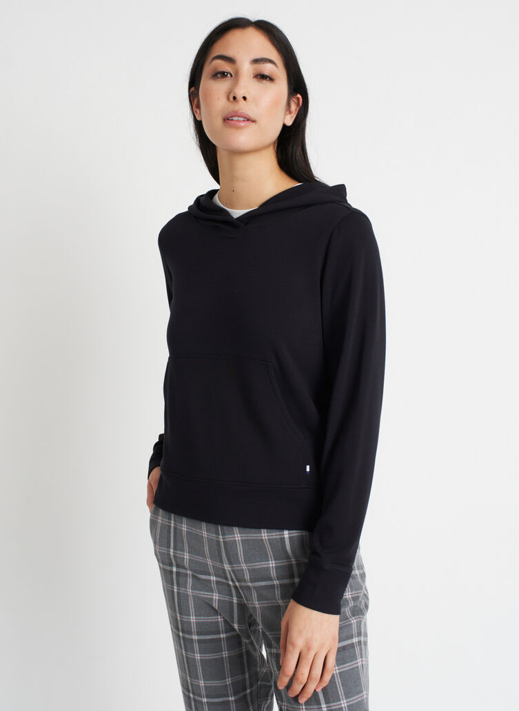 Good Feels Brushed Hoodie, Black | Kit and Ace