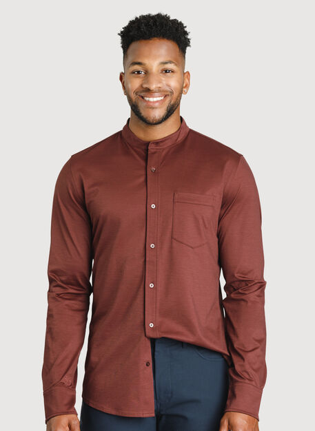 City Tech Collarless Shirt, Cherrywood | Kit and Ace