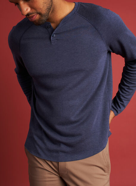 Brushed Baseball Henley Tee, Heather Dark Navy | Kit and Ace