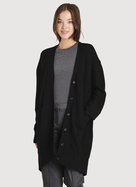 Ash Long Cardigan, Black | Kit and Ace