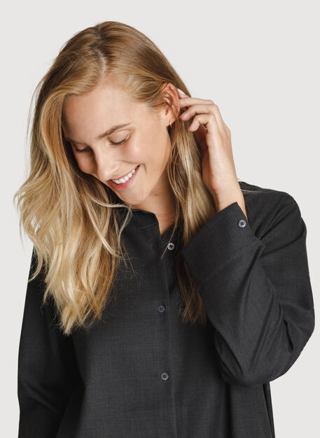 Button Up Blouse, HTHR Charcoal | Kit and Ace