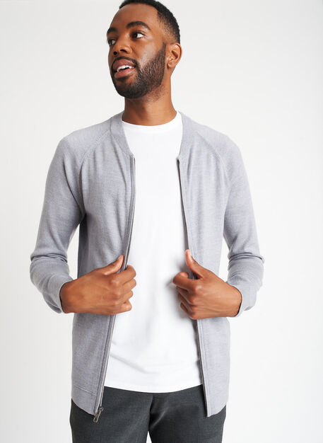 A to B Merino Bomber, Heather Stone | Kit and Ace