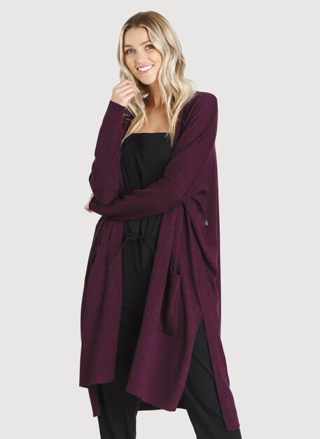 Long Haul Cardigan, Heather Plum Wine | Kit and Ace