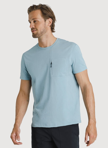 Ace Pima Pocket Tee, Ocean Blue | Kit and Ace