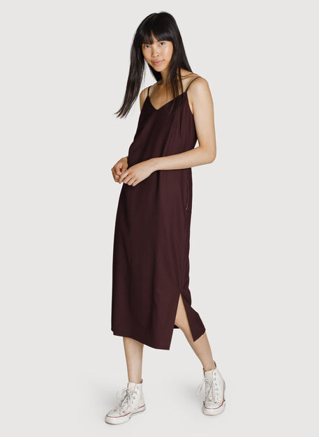 Stretch Slip Midi Dress, Espresso | Kit and Ace