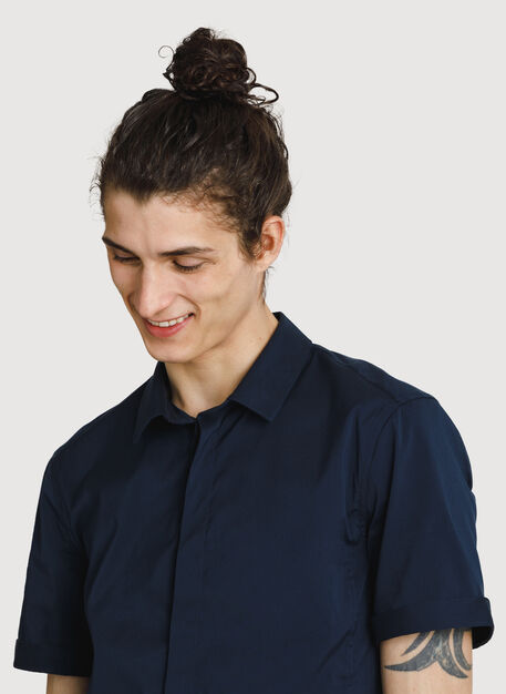 Stretch Woven Short Sleeve, DK Navy | Kit and Ace
