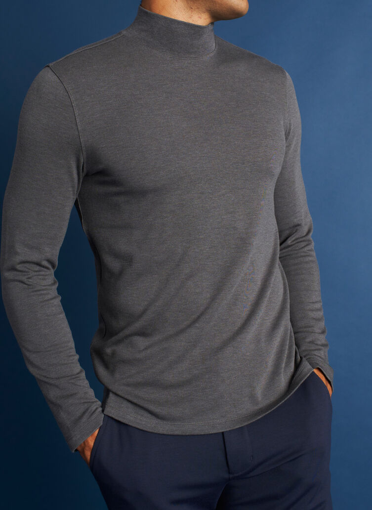 First Class Turtleneck, Heather Charcoal | Kit and Ace