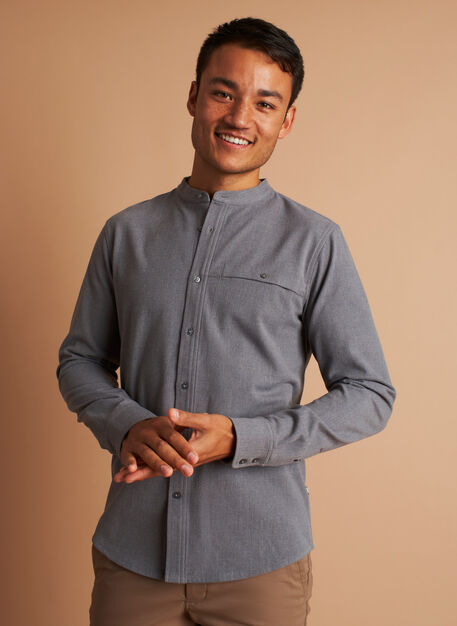 Urban Adventure Collarless Shirt, Heather Grey | Kit and Ace