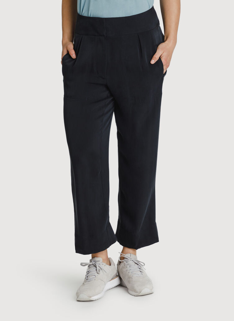 Bike to Office Silk Pant, BLACK | Kit and Ace