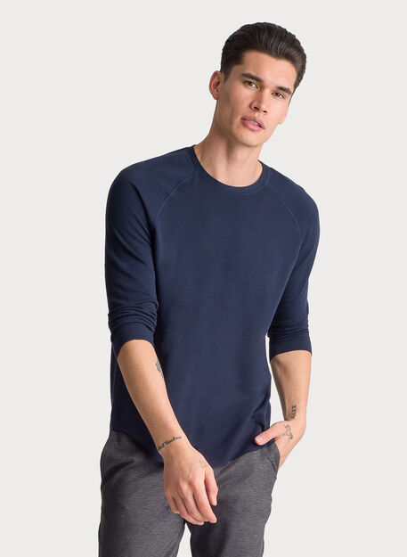 Brushed 3/4 Sleeve Crew, DK Navy | Kit and Ace
